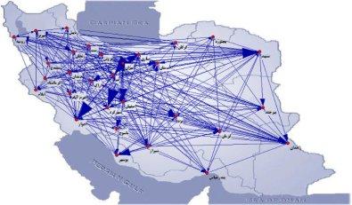 نمونه مصورسازی دادهها بر روی نقشه ایران